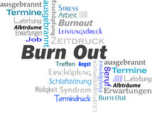 BurnOut. Words buzzword cloud burnout blue text royalty free illustration