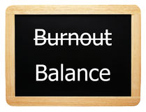 Burnout / Balance - Concept Sign stock image