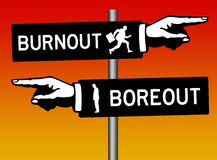 Burnout boreout. How to avoid both burnout and boreout Stock Photo
