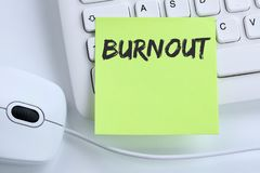 Burnout ill illness stress stressed at work business concept mou Stock Photos