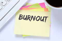 Burnout ill illness stress stressed at work business desk Stock Image