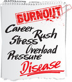 Burnout note. Note with the advice of the danger of burnout Stock Photography
