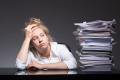 Burnout office worker Stock Photo