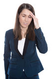 Burnout: overworked tired businesswoman in suit isolated on Whit Royalty Free Stock Photos