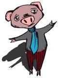 Burnout pig vector. Depressive disorder and burout pig vector drawing royalty free illustration