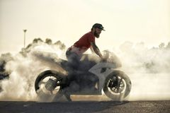 Burnout on racetrack royalty free stock image