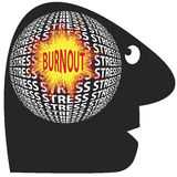 Burnout through stress. Be aware of stress and burnout which can cause serious health problems stock illustration