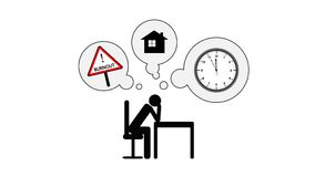 Burnout and stress mental problems concept animated pictogram