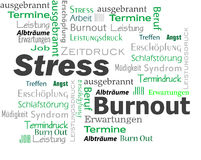 Burnout Stress Words Cloud. In green and black color Stock Image