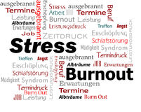 Burnout Stress Words Cloud. In red and black color vector illustration