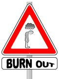 Burnout warning sign vector illustration