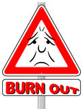 Burnout warning sign. Vector illustration of a burnout warning sign royalty free illustration