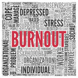 BURNOUT Word Tag Cloud Design Royalty Free Stock Images