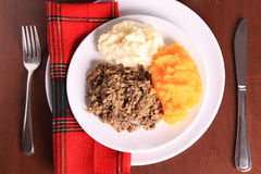 Burns Night Haggis. Scottish Haggis Serving For A Burns Night Dinner Celebrating The Birthday Of Robert Burns And A Tot Of Whiskey royalty free stock images