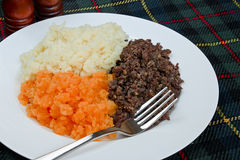 Burns supper. Traditional Scottish haggis, neeps and tatties also known as a burns supper Stock Image