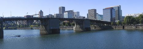 The Burnside Bridge Portland OR. A Panoramic view of the Burnside bridge in Portland Oregon Royalty Free Stock Images
