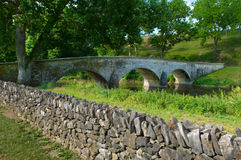 Burnside Bridge and Stone Wall Royalty Free Stock Photos
