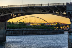 Burnside Bridge Sunset Stock Photos