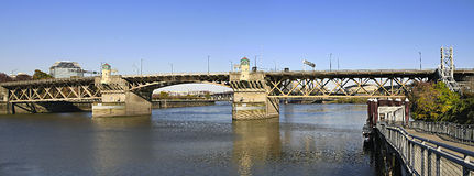 Burnside Bridge Willamette River Portland Oregon. Burnside Bridge Over Willamette River Portland Oregon Panorama royalty free stock photography