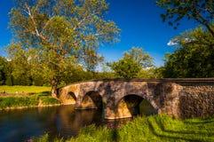 Burnside bro, på en härlig vårdag på den Antietam medborgareslagfältet Royaltyfria Bilder