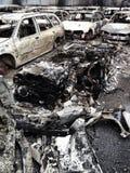 Burnt aluminium car Stock Photo