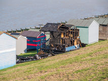 Burnt Beach Huts, Whitstable Royalty Free Stock Photo