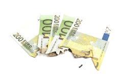 Burnt bills of euro Royalty Free Stock Photo