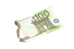 Burnt bills of hundred euro Royalty Free Stock Photos