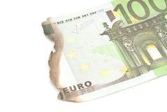 Burnt bills of hundred euro on white Stock Photography