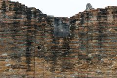 Burnt and broken brick wall in an ancient historical santuary. Burnt and broken brick wall in an ancient historical sanctuary, part of archaeological site in Lop royalty free stock images