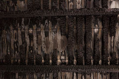 Burnt broken wood wall Royalty Free Stock Photos