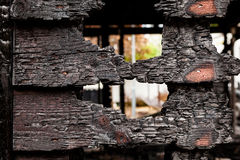 Burnt broken wood wall Royalty Free Stock Photography