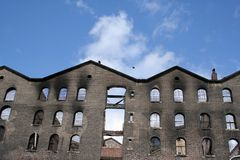 Burnt building. Old brick building which was offices and warehouse was damaged by fire Stock Images