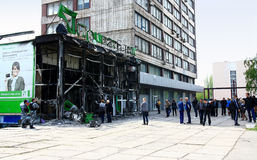 Burnt Building in Donetsk Oblast, Ukraine. Stock Photography