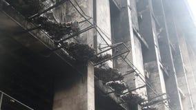 Burnt building of trade union on the Khreshchatyk street in Kiev, Ukraine stock footage