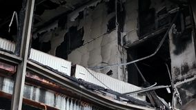 Burnt building of trade union on the Khreshchatyk street in Kiev, Ukraine. March 4, 2014 stock video