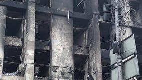 Burnt building of trade union in Kiev, Ukraine. Burnt building of trade union on the Khreshchatyk street in Kiev, Ukraine, March 4, 2014 stock video footage