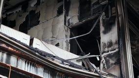Burnt building of trade union in Kiev, Ukraine. Burnt building of trade union on the Khreshchatyk street in Kiev, Ukraine, March 4, 2014 stock footage