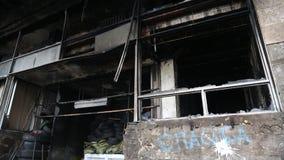 Burnt building of trade union in Kiev, Ukraine. Burnt building of trade union on the Khreshchatyk street in Kiev, Ukraine, March 4, 2014 stock video