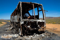 Burnt Bus. That we found on the side of the road in the karoo, south africa stock photography