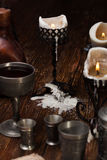 Burnt candle on the table. Royalty Free Stock Images