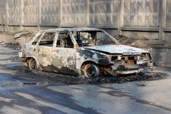 The burnt car. Royalty Free Stock Photo