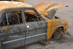 The burnt car Stock Images