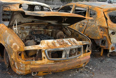 The burnt car. The thrown car after crash Royalty Free Stock Photo
