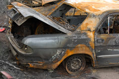 The burnt car Royalty Free Stock Photography