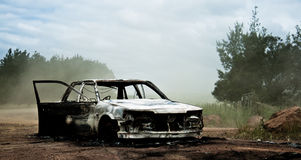 Burnt Car 2. Abandoned car, burnt out.  Most likely stolen then set one fire Royalty Free Stock Photos