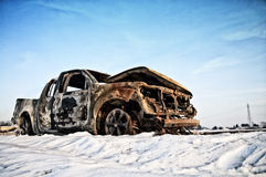 Burnt car. A view of a burnt car Royalty Free Stock Image