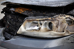 Burnt Car. Close up detail of a burnt car in a car accident Stock Image
