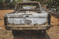 Burnt car by accident Royalty Free Stock Photo
