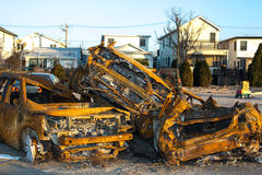Burnt car pileup from Hurricane Sandy Stock Photos